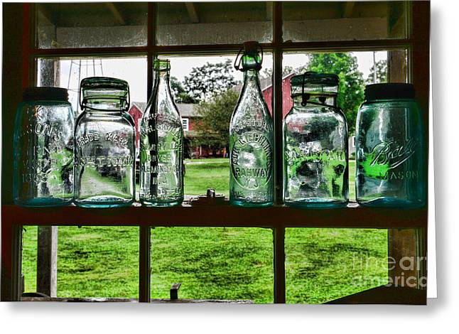 Mason Jars Greeting Cards - The kitchen window Greeting Card by Paul Ward