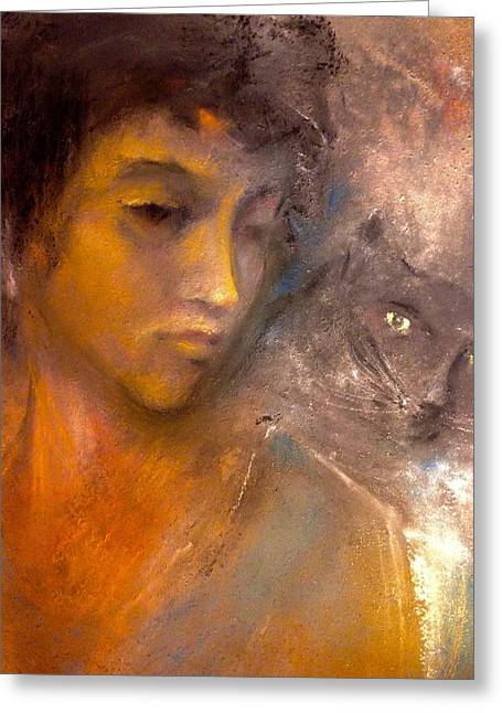 The Kitty And Her Muse Greeting Card by Paul Birchak