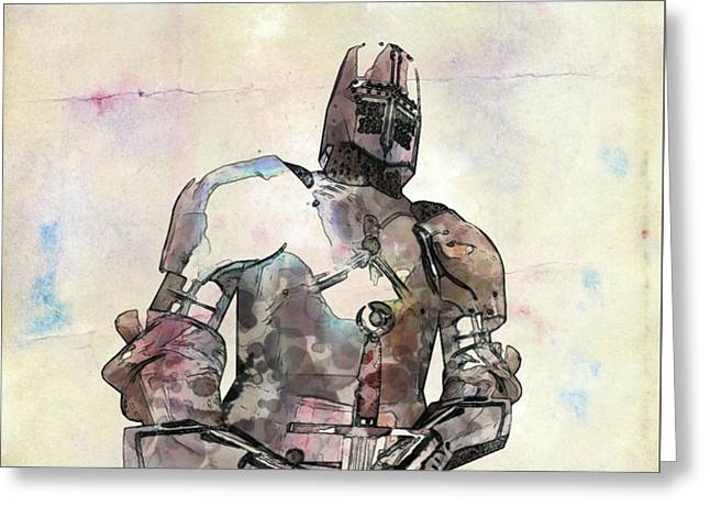 The Knight Pop Art By Mary Bassett Greeting Card
