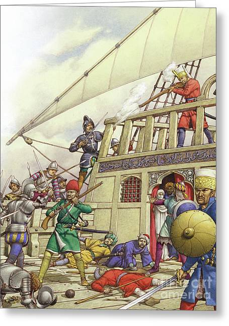 The Knights Of St John Seized Turkey's Finest Galleon, The Sultana Greeting Card by Pat Nicolle