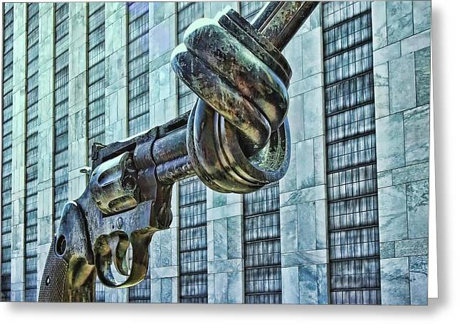 The Knotted Gun Greeting Card by Allen Beatty