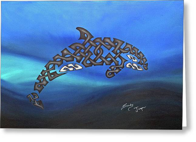 The Knotty Orca Greeting Card by Sandy Jasper