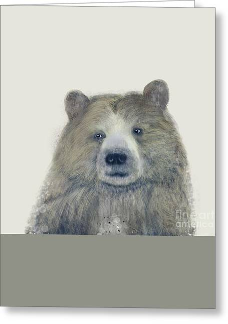 Greeting Card featuring the painting The Kodiak Bear by Bri B