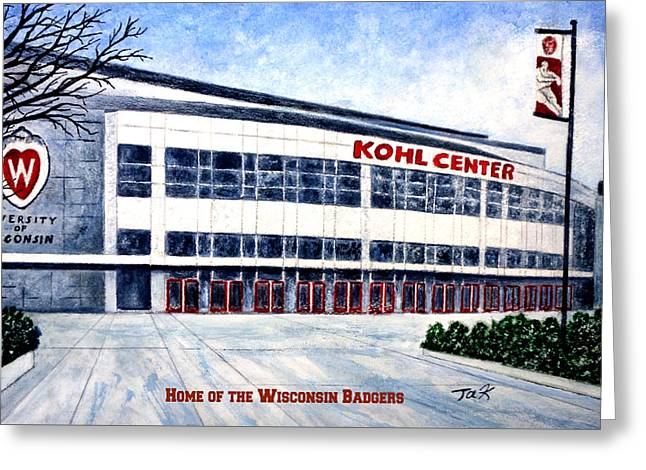 Greeting Card featuring the painting The Kohl Center by Thomas Kuchenbecker
