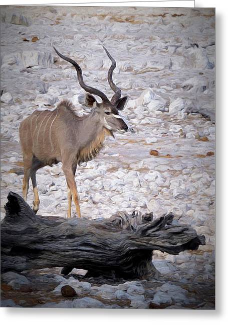 Greeting Card featuring the digital art The Kudu In Namibia by Ernie Echols