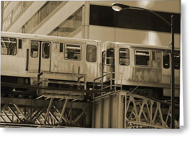 The L Downtown Chicago In Sepia Greeting Card