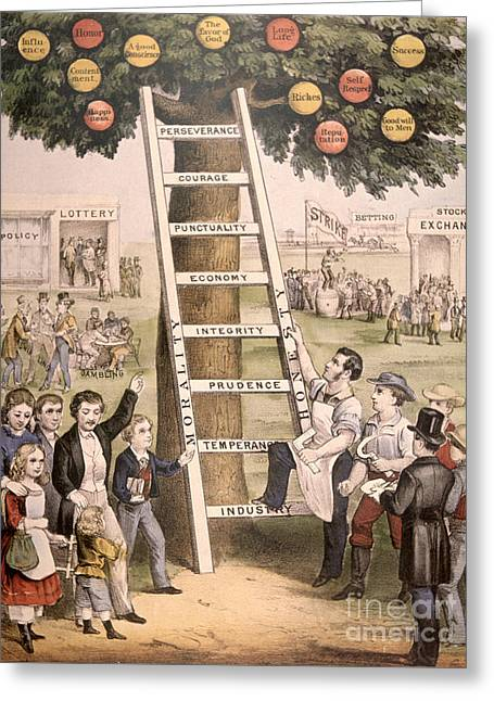 The Ladder Of Fortune To The American Dream Greeting Card