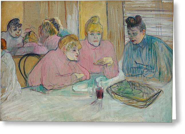 The Ladies In The Dining Room Greeting Card by Henri de Toulouse-Lautrec