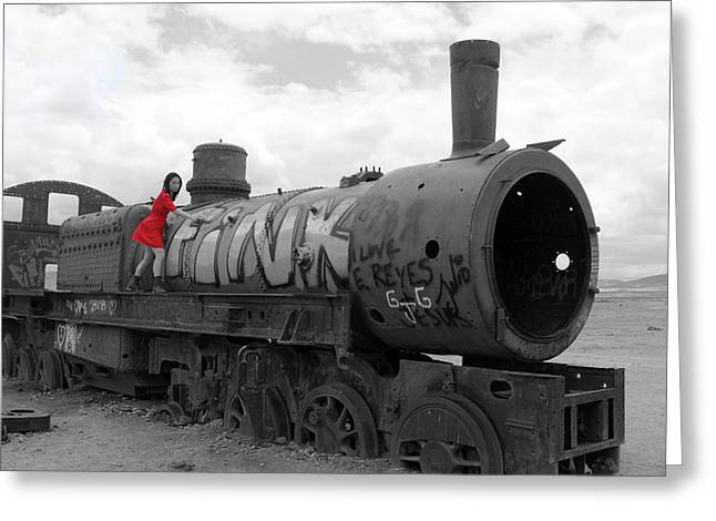 Greeting Card featuring the photograph The Lady And The Train by Aidan Moran