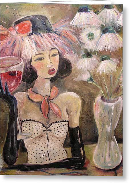 The Lady In The Flower Hat Greeting Card by Jenna Fournier