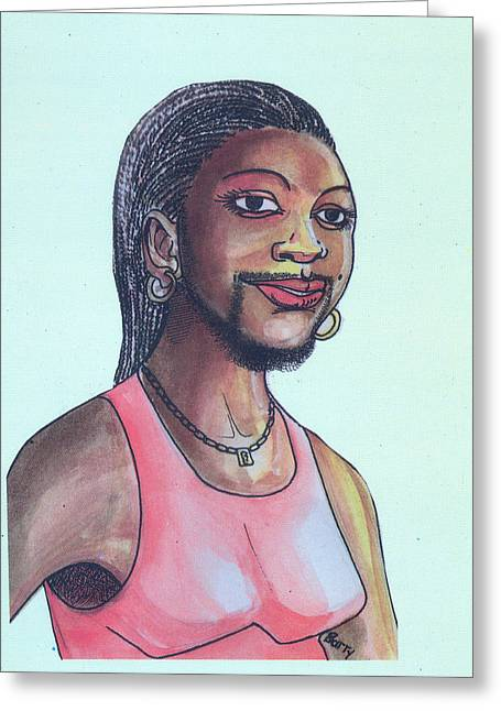 Emmanuel Baliyanga Greeting Cards - The Lady With A Beard Greeting Card by Emmanuel Baliyanga