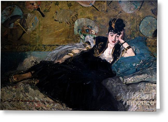 The Lady With Fans, La Dame Aux Eventails, By Edouard Manet, 187 Greeting Card by Peter Barritt