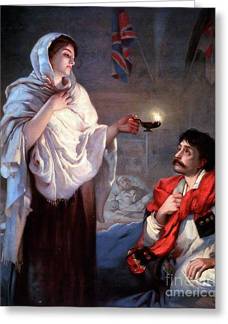 The Lady With The Lamp, Florence Greeting Card by Science Source