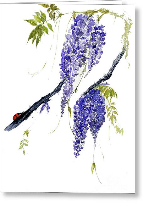The Ladybird And The Wisteria Greeting Card