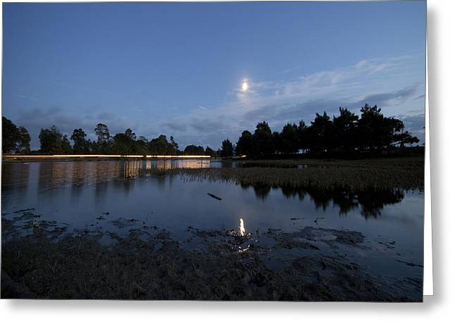 The Lake In The Moonlight Greeting Card by Angel  Tarantella