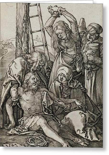 The Lamentation Greeting Card by Albrecht Durer