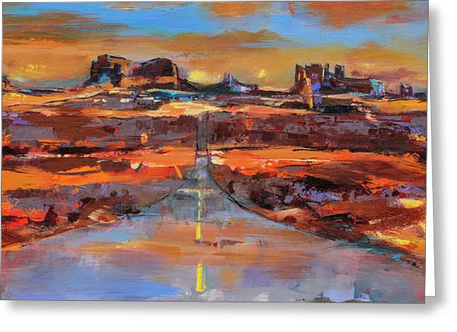 Greeting Card featuring the painting The Land Of Rock Towers by Elise Palmigiani