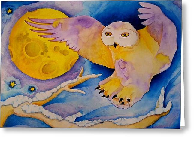 The Landing Of Snowy Owl Greeting Card