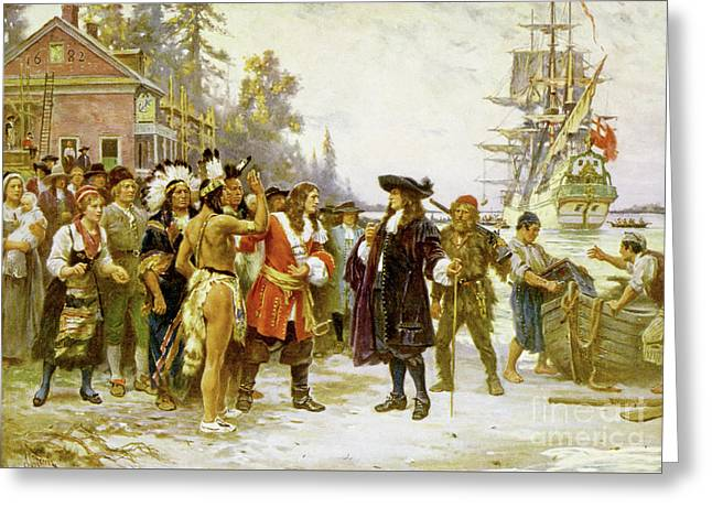 The Landing Of William Penn Greeting Card