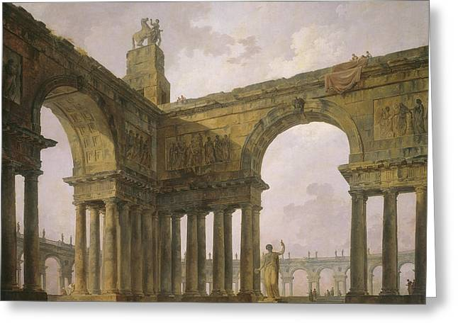 The Landing Place Greeting Card by Hubert Robert