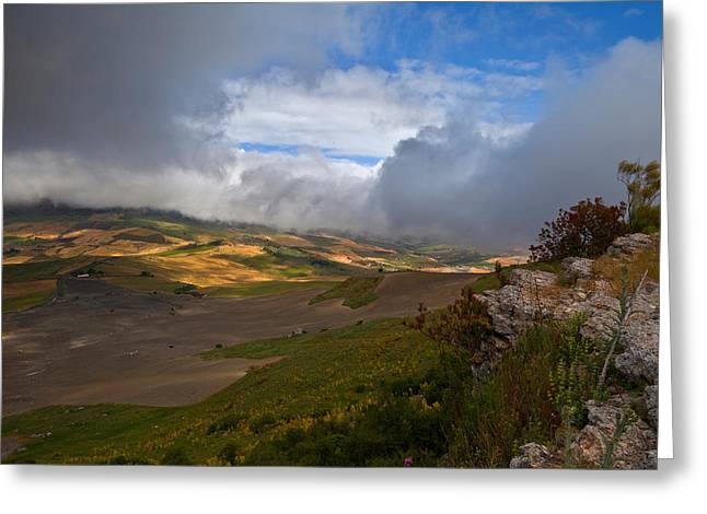 The Landscape Near The Roman Ruins Greeting Card