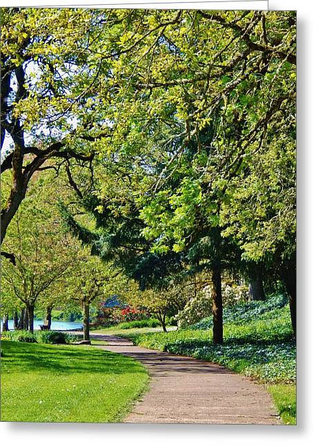The Lane At Waverly Pond Greeting Card by VLee Watson
