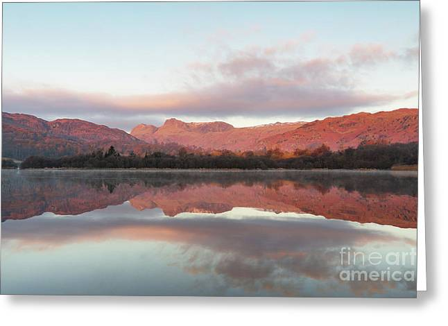 The Langdales Reflected In Elterwater Greeting Card