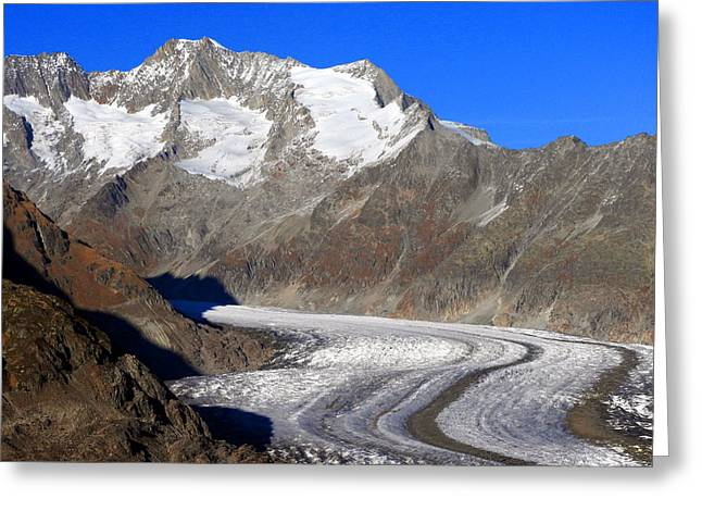 The Large Aletsch Glacier In Switzerland Greeting Card