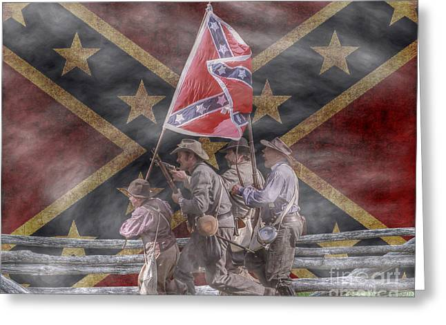 The Last Charge Confederate Flag Version Greeting Card by Randy Steele