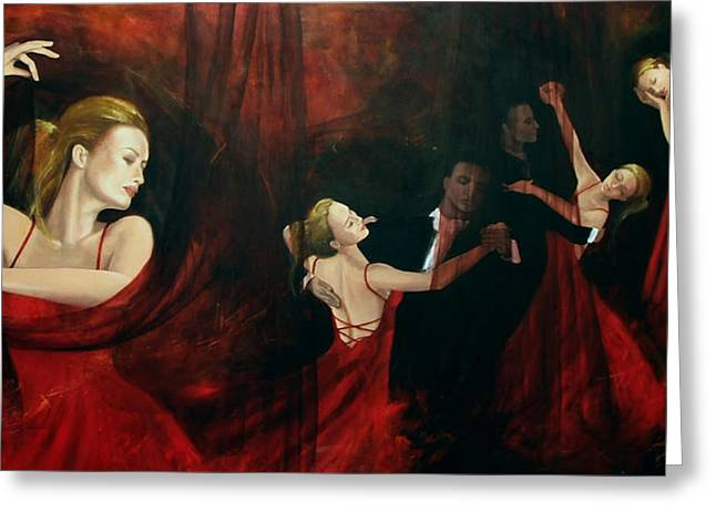 Live Paintings Greeting Cards - The last dance Greeting Card by Dorina  Costras