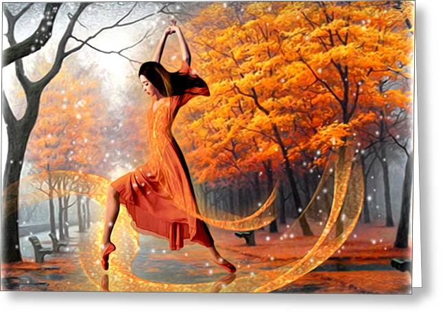 The Last Dance Of Autumn - Fantasy Art  Greeting Card