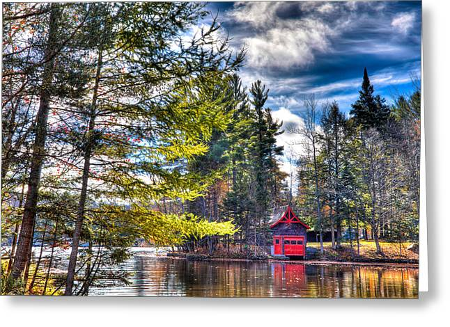 The Last Days Of Autumn At The Boathouse Greeting Card by David Patterson