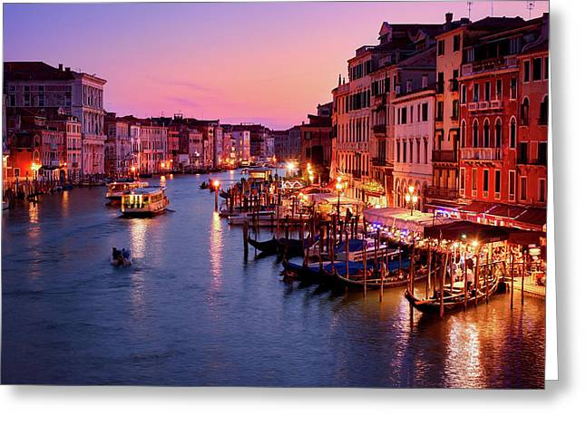 The Blue Hour From The Rialto Bridge In Venice, Italy Greeting Card