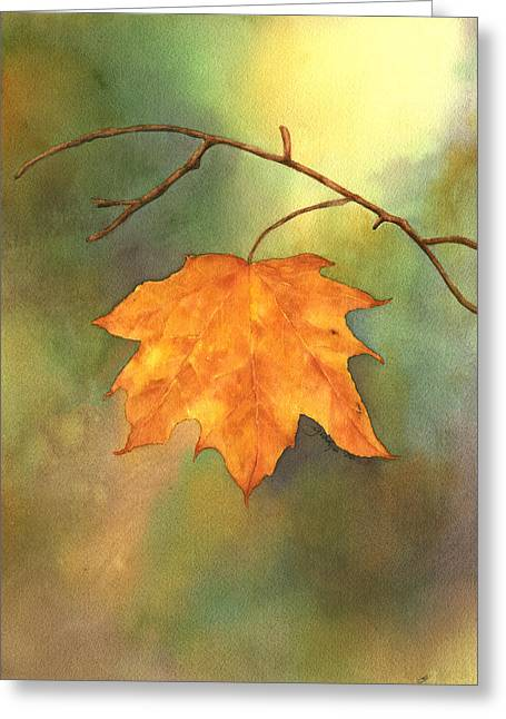 The Last Leaf Greeting Card by Gladys Folkers