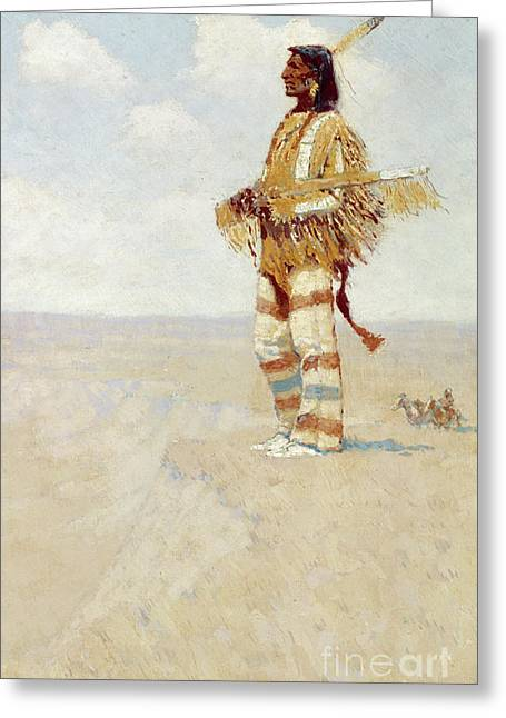 The Last Of His Race  The Vanishing American, 1908 Greeting Card by Frederic Remington