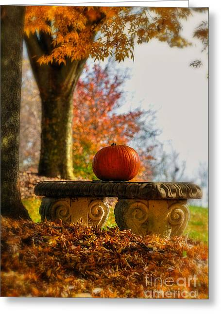 The Last Pumpkin Greeting Cards - The Last Pumpkin Greeting Card by Lois Bryan