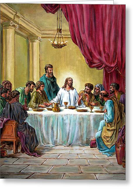 Last Supper Greeting Cards - The Last Supper Greeting Card by John Lautermilch