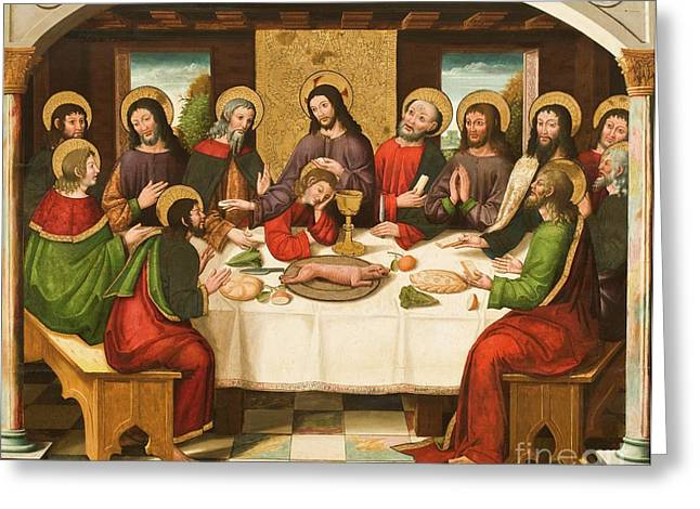Chalice Greeting Cards - The Last Supper Greeting Card by Master of Portillo