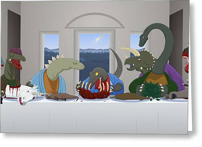 Flash Greeting Cards - The Last Supper of Raptor Jesus Greeting Card by Greasy Moose