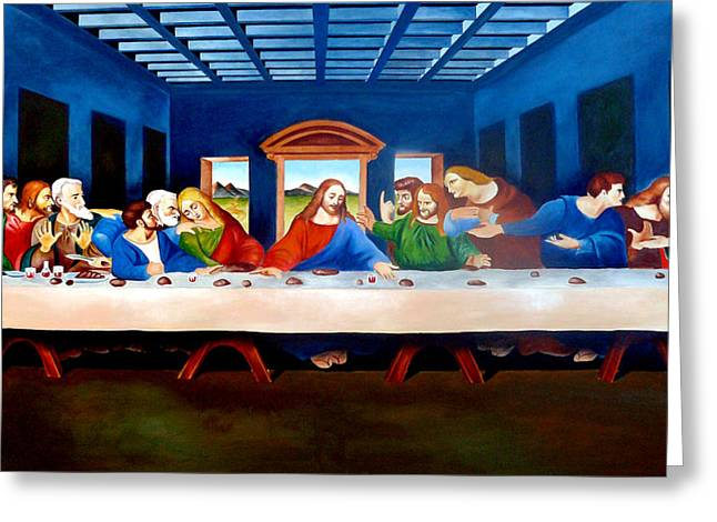 Last Supper Greeting Cards - The Last Supper Greeting Card by Ramil Roscom Guerra