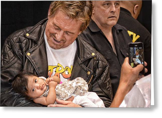 The Late Pro Wrestling Legend Roddy Piper Sharing A Special Moment With His Youngest Fan Greeting Card by Jim Fitzpatrick