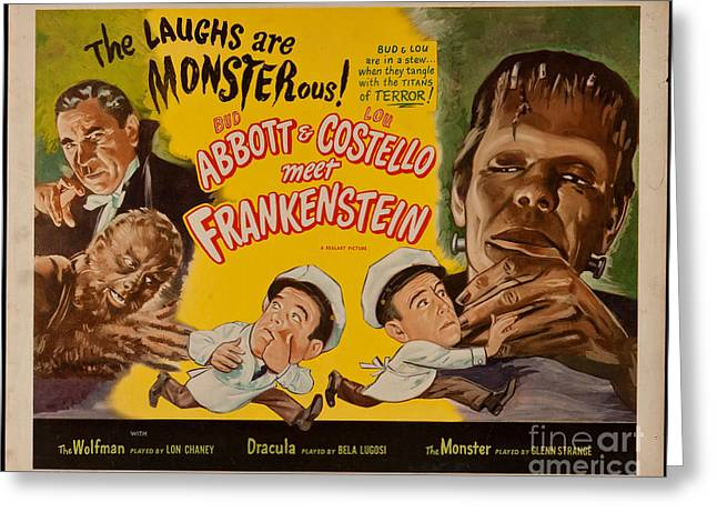 The Laughs Are Monsterous Abott An Costello Meet Frankenstein Classic Movie Poster Greeting Card by R Muirhead Art