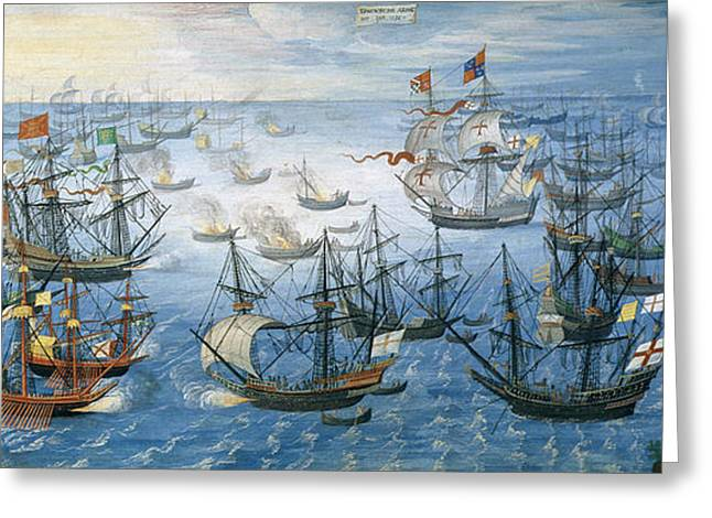 The Launching Of English Fire Ships On The Spanish Fleet Off Calais Greeting Card by Flemish School