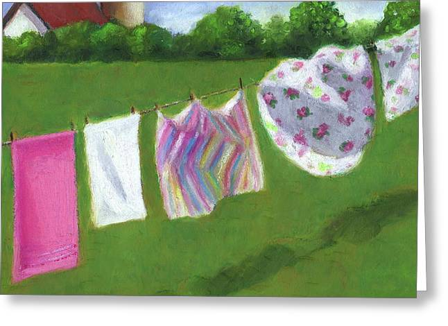 Joyce Geleynse Greeting Cards - The Laundry on the Line Greeting Card by Joyce Geleynse