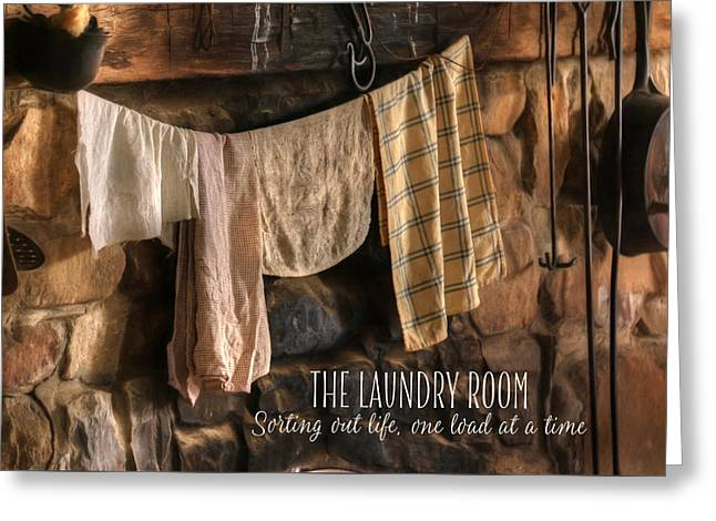 The Laundry Room Greeting Card by Lori Deiter