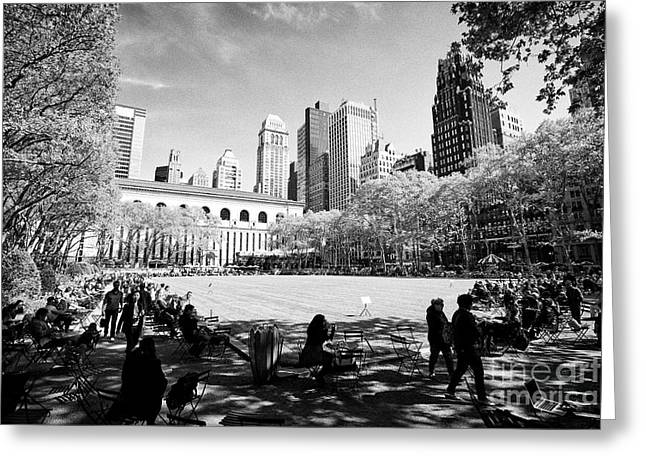 the lawn at bryant park New York City USA Greeting Card