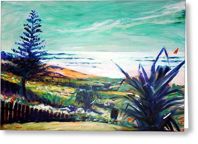 The Lawn Pandanus Greeting Card by Winsome Gunning
