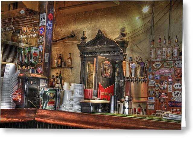 The Lazy Gecko Bar Key West Greeting Card by Scott Bert