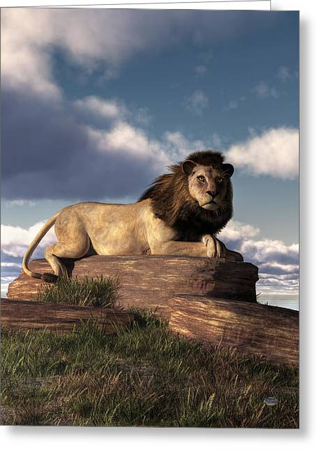 Greeting Card featuring the digital art The Lazy Lion by Daniel Eskridge