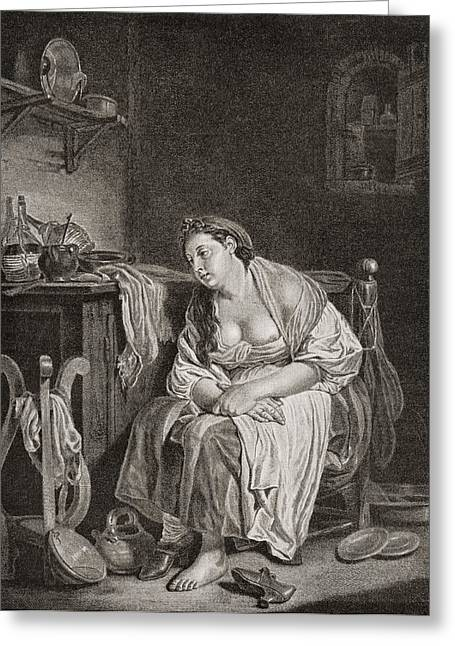 The Lazy Woman, After J.b. Greuze Greeting Card by Vintage Design Pics
